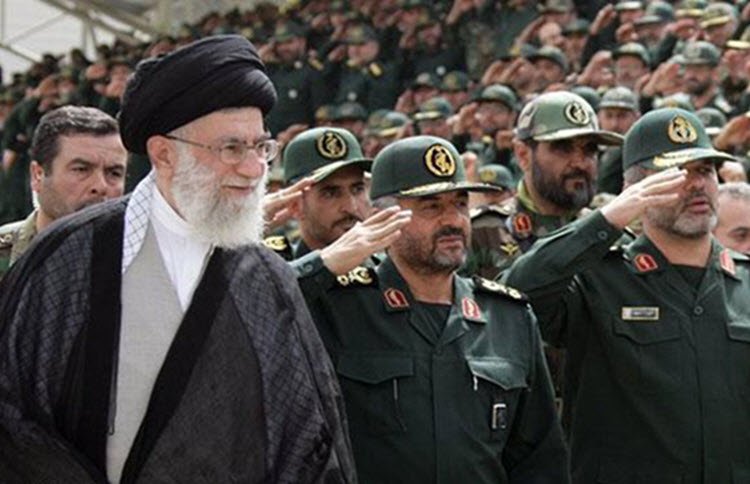 Supreme Leader Ali Khamenei with commanders of the Revolutionary Guards