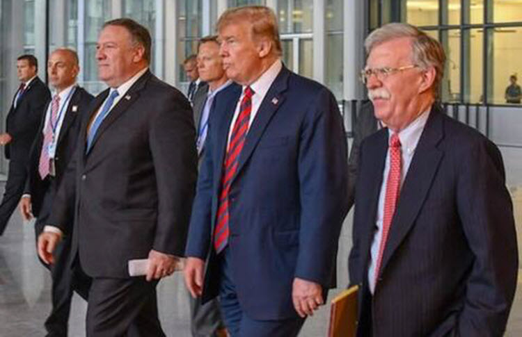 President Donald Trump-Secretary of State Mike Pompeo and John Bolton- the White House's National Security Adviser