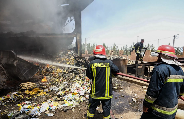 Seventeen workers were injured after a fire broke out at a production unit in the Shokoohiyeh district of Qom city, central Iran, on Wednesday, July 3.