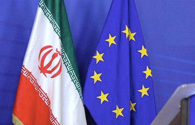 Flag of the European Union and the flag of Iran