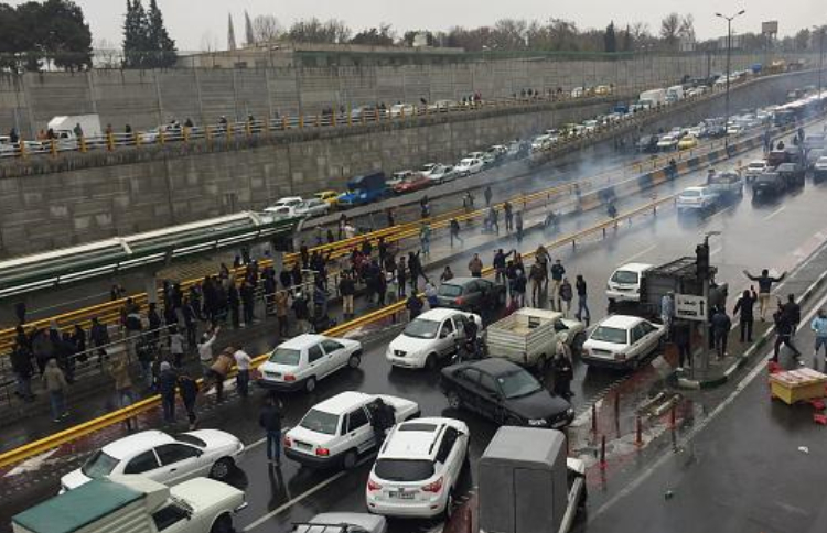 The Iranian people blocked the highway in resist themselves against the oppressive security forces' attacks