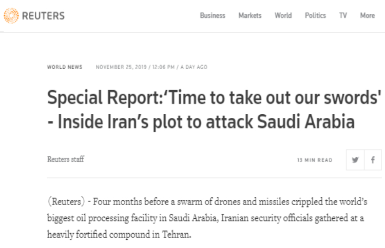 Reuters' exclusive report shed light on Khamenei's responsibility for attacking Aramco facilities