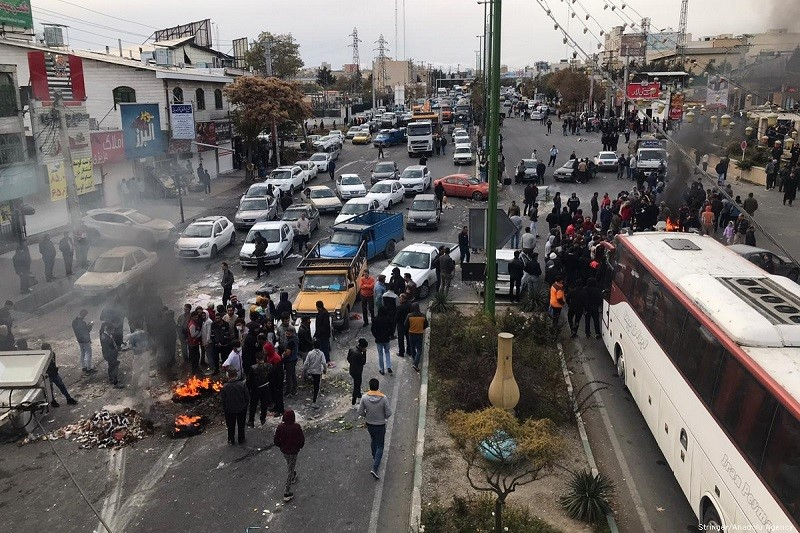 A protest on a highway in Tehran, Iran, Nov. 16, 2019, a glimpse of what Iran's regime may face in the near future