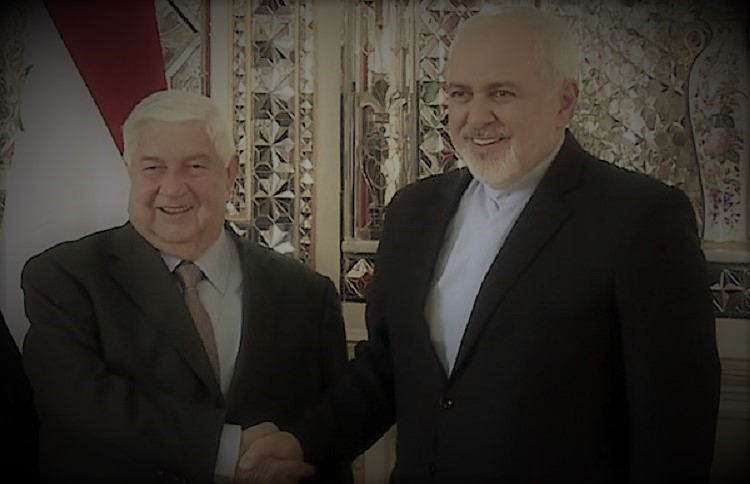 Iran's foreign minister Mohammad Javad Zarif (right) with his Syrian counterpart Walid Muallem (left)