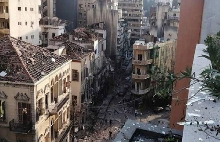 Part of Beirut after the explosion