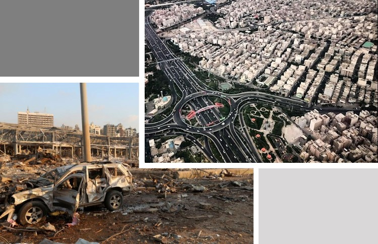 Beirut after the 4 August 2020 blast, and the view in Tehran